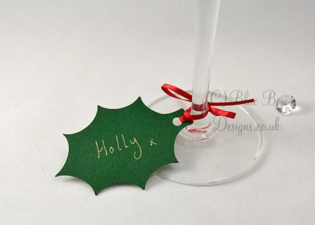Green Holly leaf tag