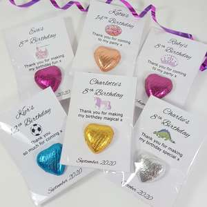 Kids Personalised Birthday Favours Unicorns, footballs doughnuts and dinosaurs