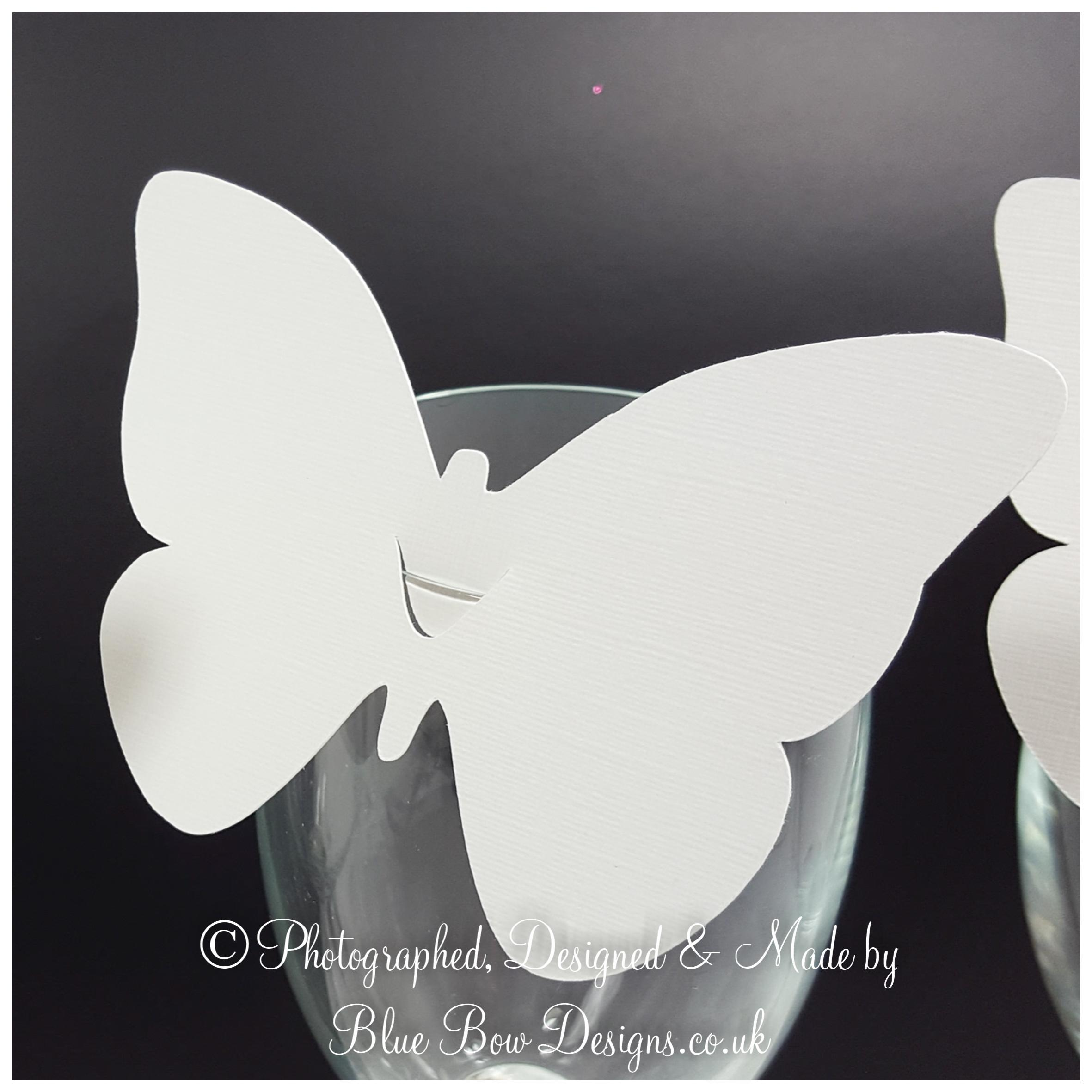 White linen butterfly wine glass place card