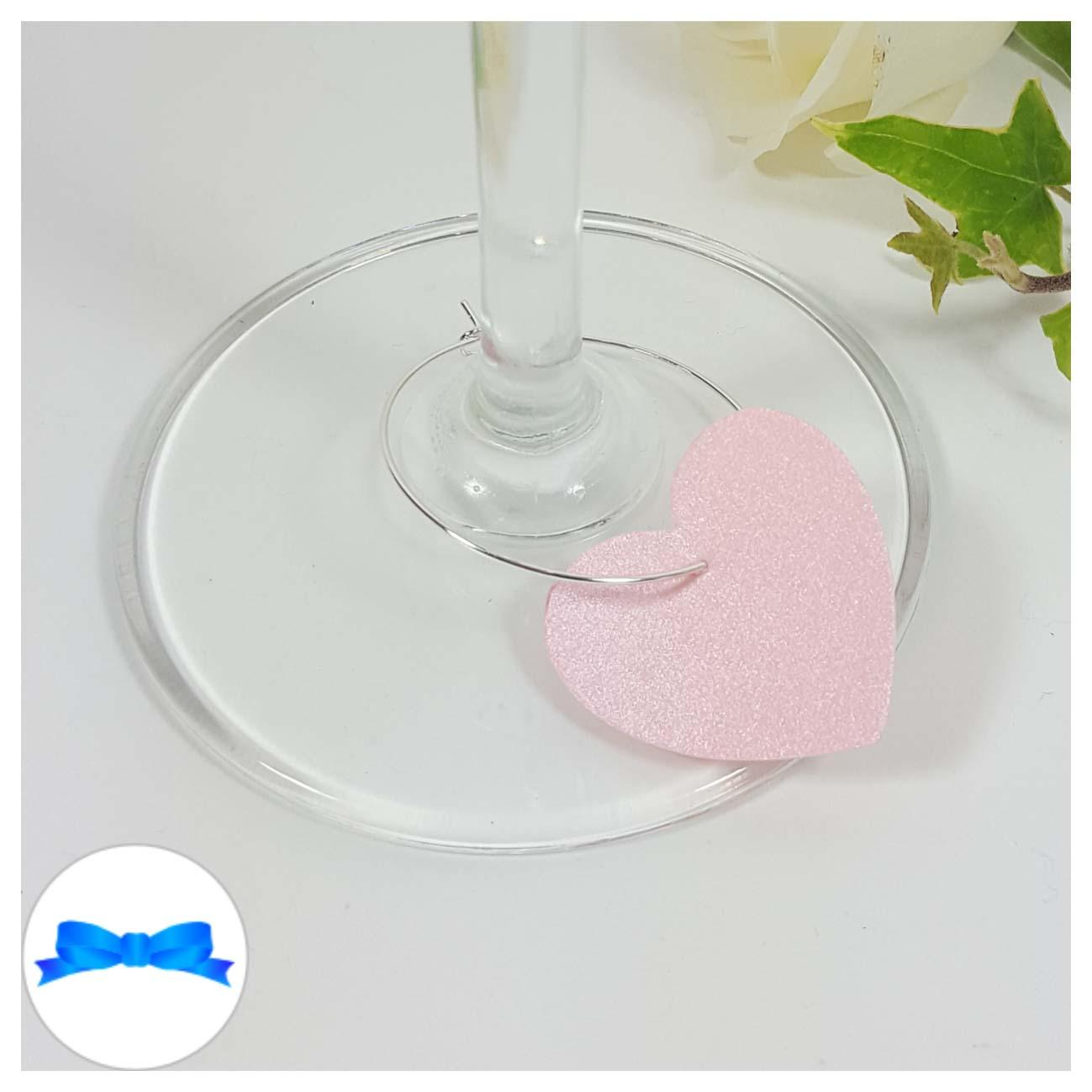 Pink heart shaped wine glass charm