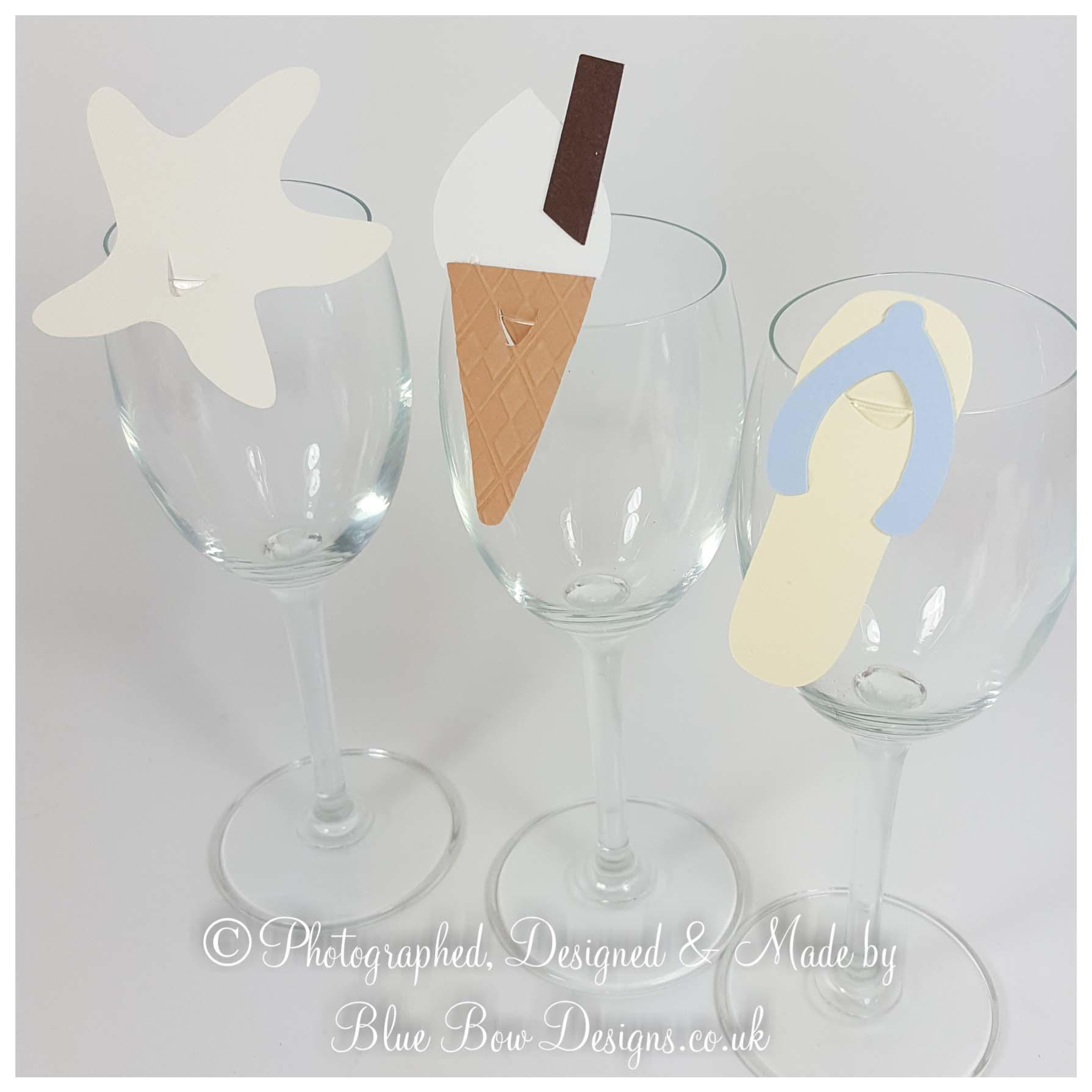 Flip flop shaped wine glass place cards