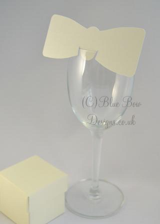 White bow tie wine glass place card