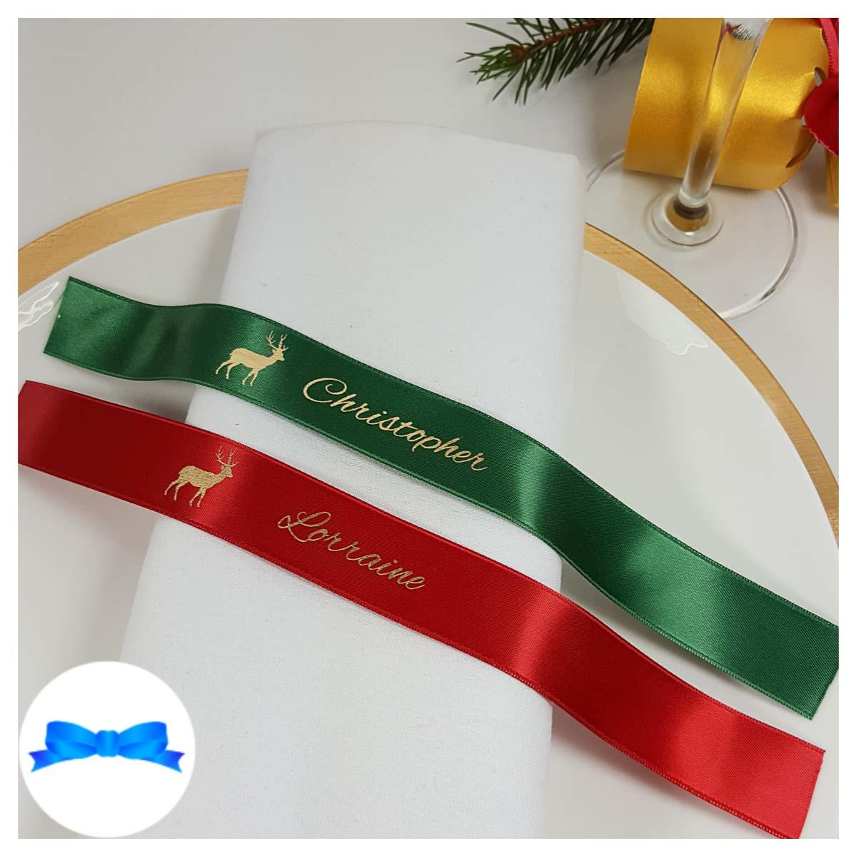 Emerald and red and gold napkin guest name ribbon