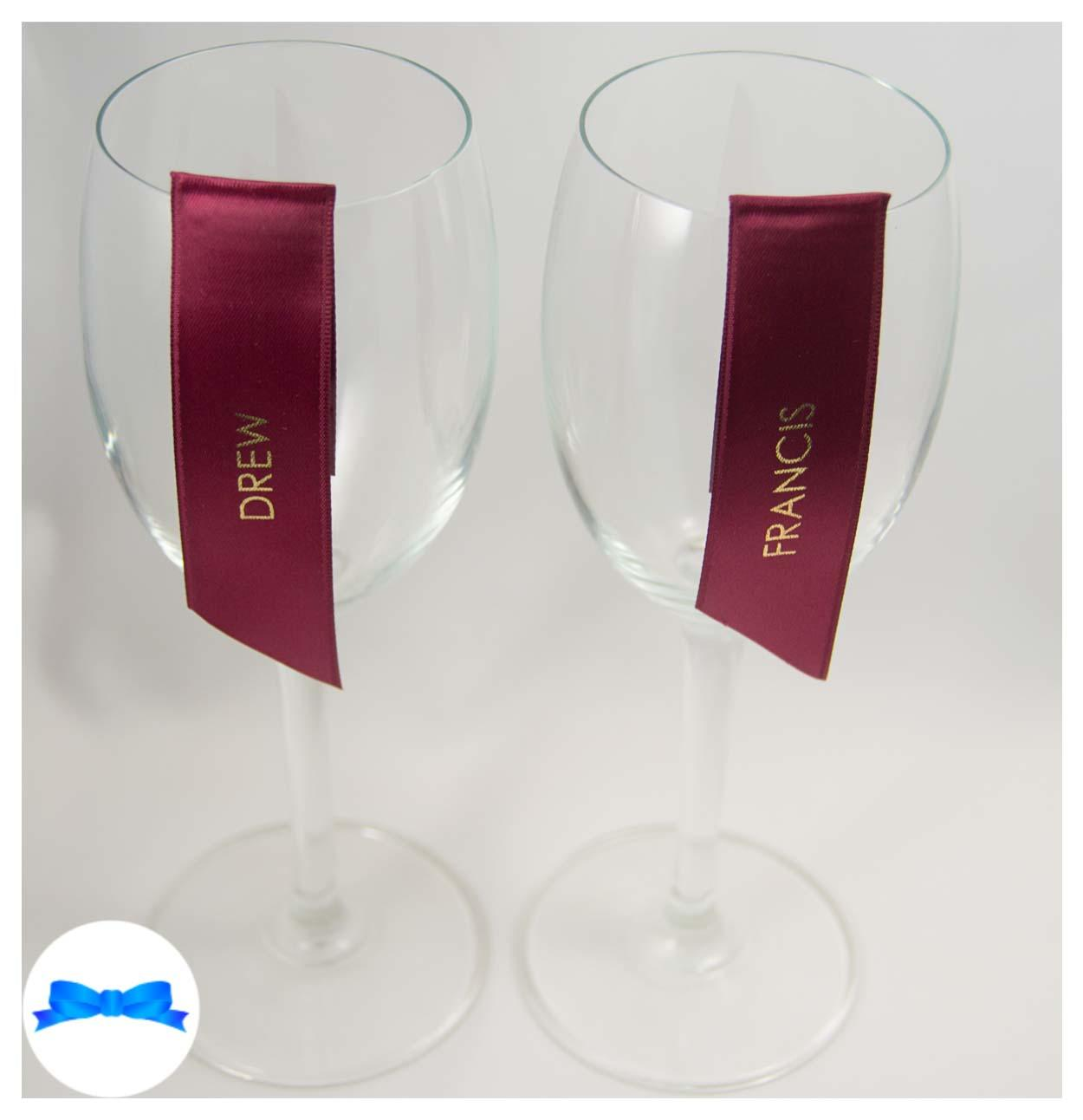 Guest name wine glass ribbons Burgundy and gold