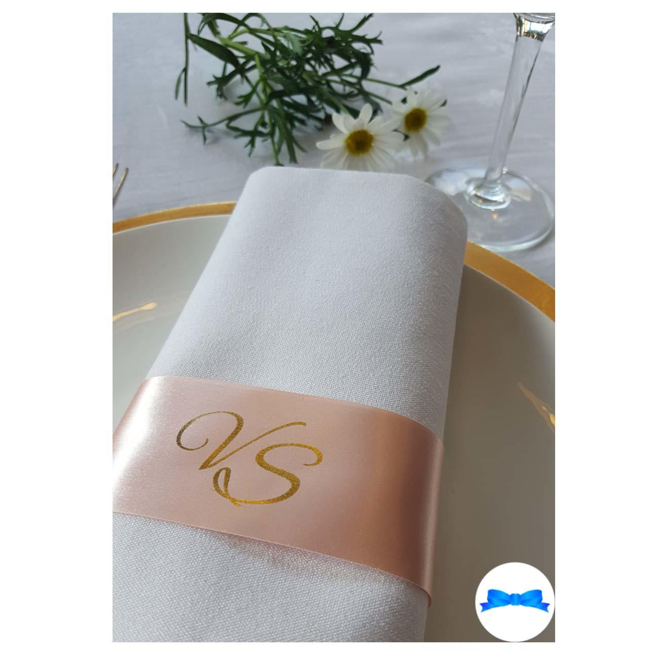 Peach Monogrammed Napkin ring ribbons