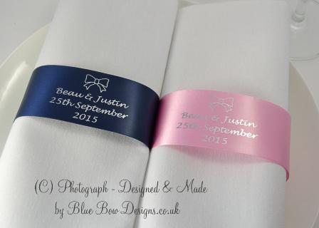 Personalised Navy, Pink and Silver Monogrammed Napkin Ring ribbon