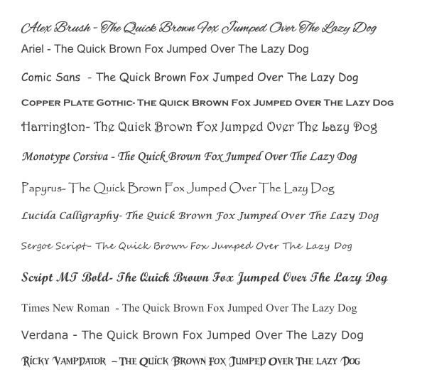 Fonts for table names and numbers