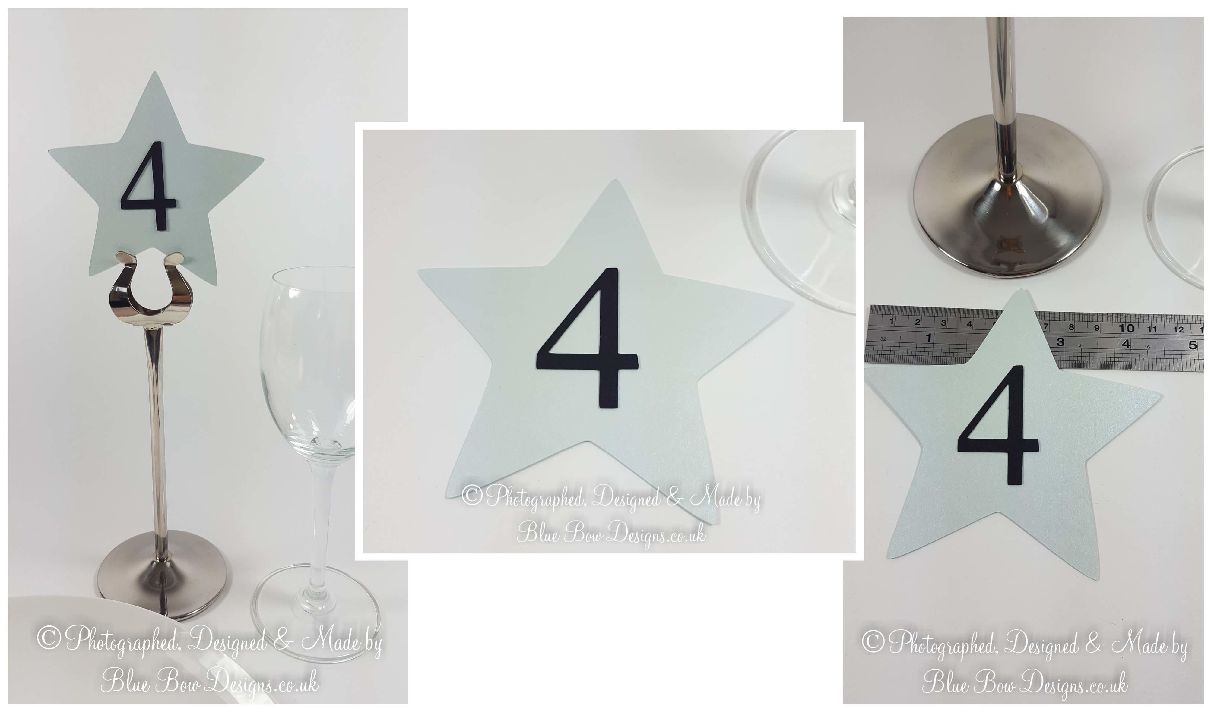 Star shaped table numbers and names