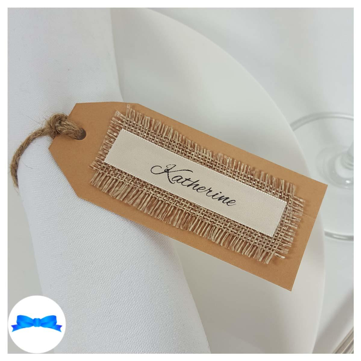 Rustic wedding place cards and tags Cream and black ribbon