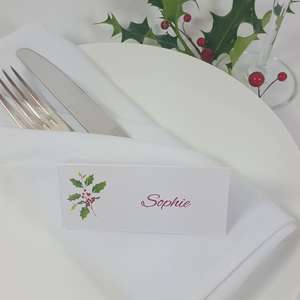 Personalised Holly place cards