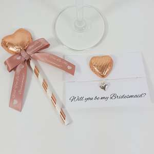 Rose gold Will you be my bridesmaid lolly and bracelet