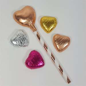 Rose Gold Chocolate Lollipops and solid Chocolate hearts