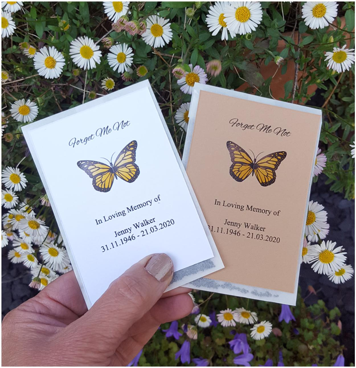 Funeral Seed Packets Memorial Seeds with butterfly