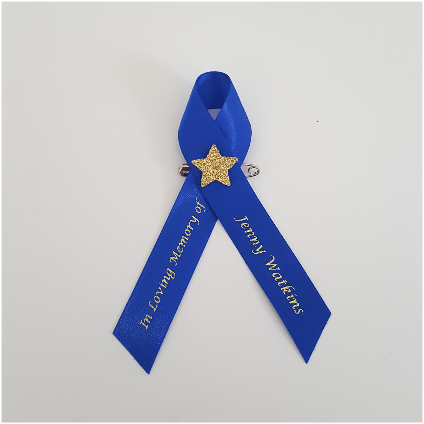 Funeral ribbon with star. Memorial ribbon