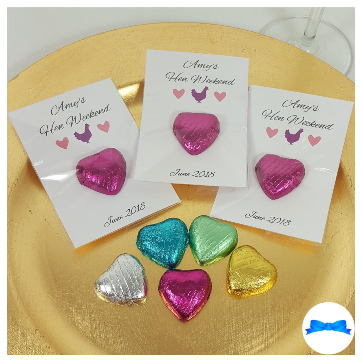 Personalised hen party Favours with hearts and hen