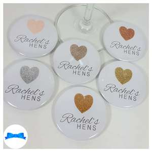 Personalised hen party badges with real sparkly glitter