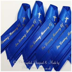 15 mm Royal Blue Funeral memorial ribbon with cross and silver print
