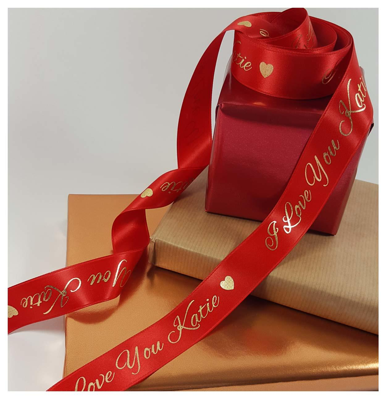 Red and gold 25 mm personalised ribbon on gifts