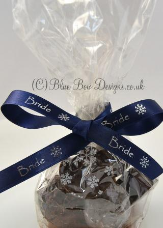 Navy personalised ribbon on chocolates