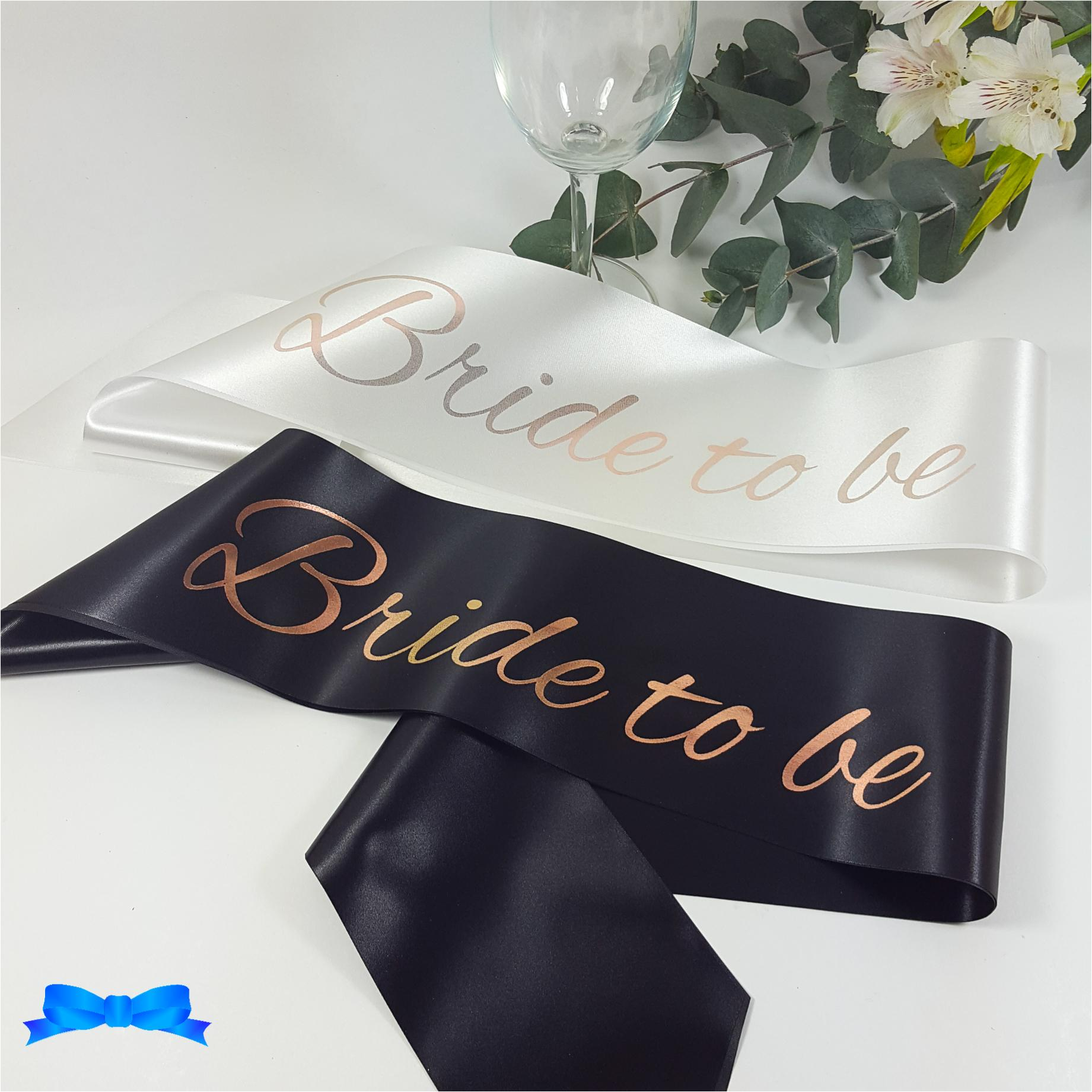 Black and white bride to be sash with rose gold print