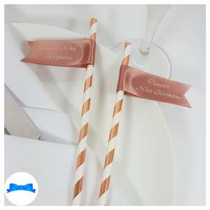Hen party straws rose gold ribbon and straws