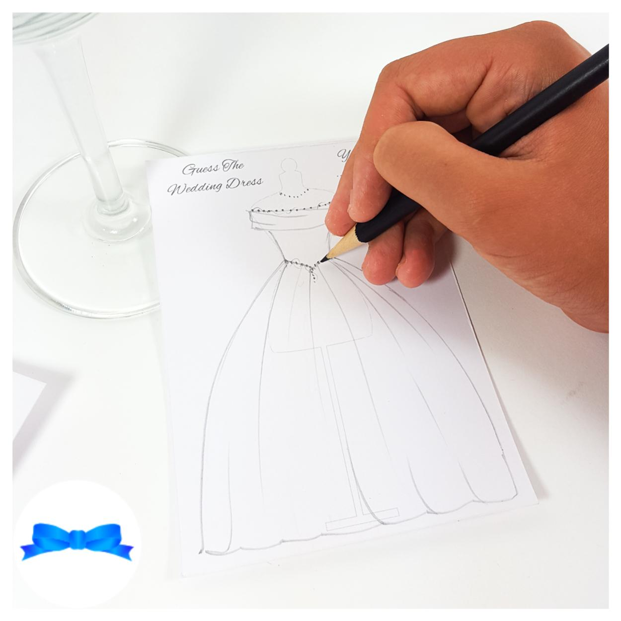 Guess the wedding dress game cards
