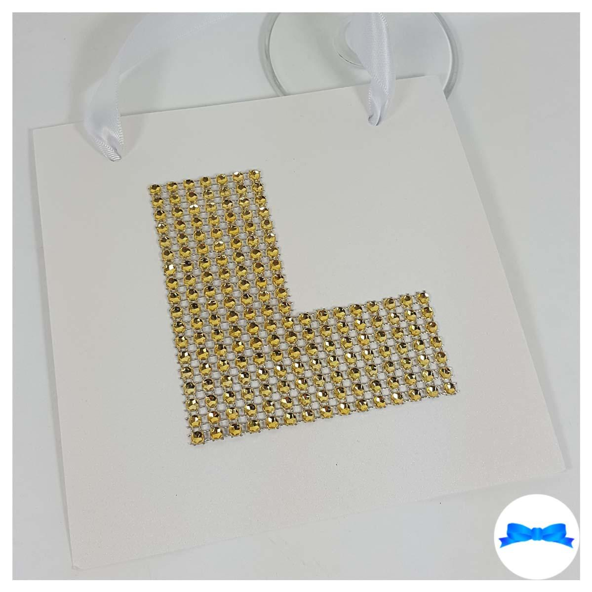 Gold diamante effect L plate