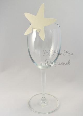 cream hammered card starfish place card