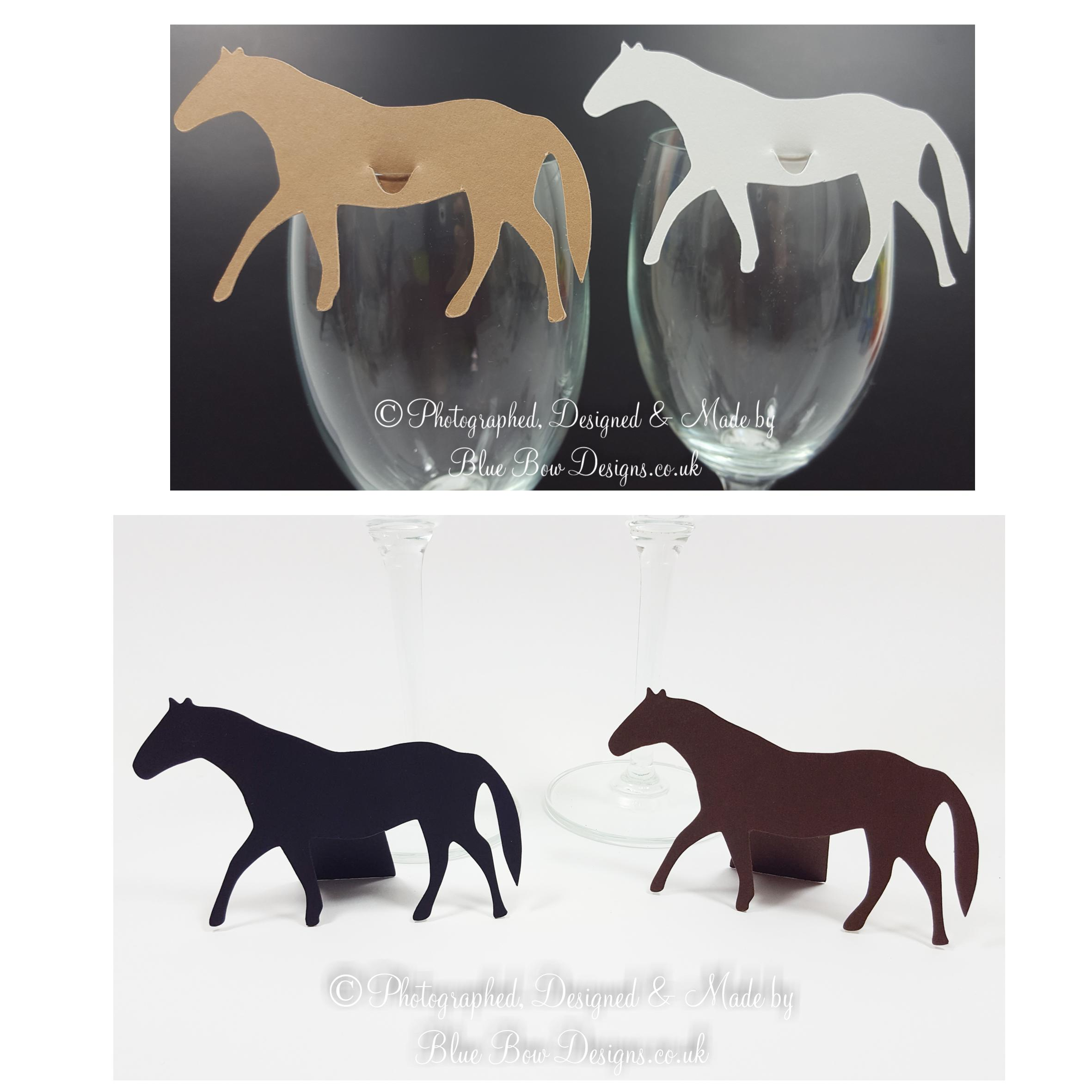 Race horse wine glass cards for writing guest names onto
