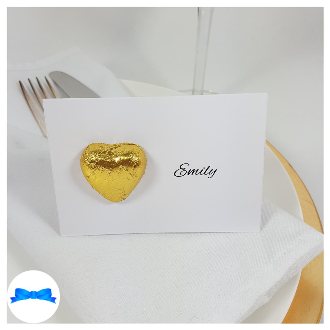 Gold Belgian chocolate heart chocolate heart favour place card
