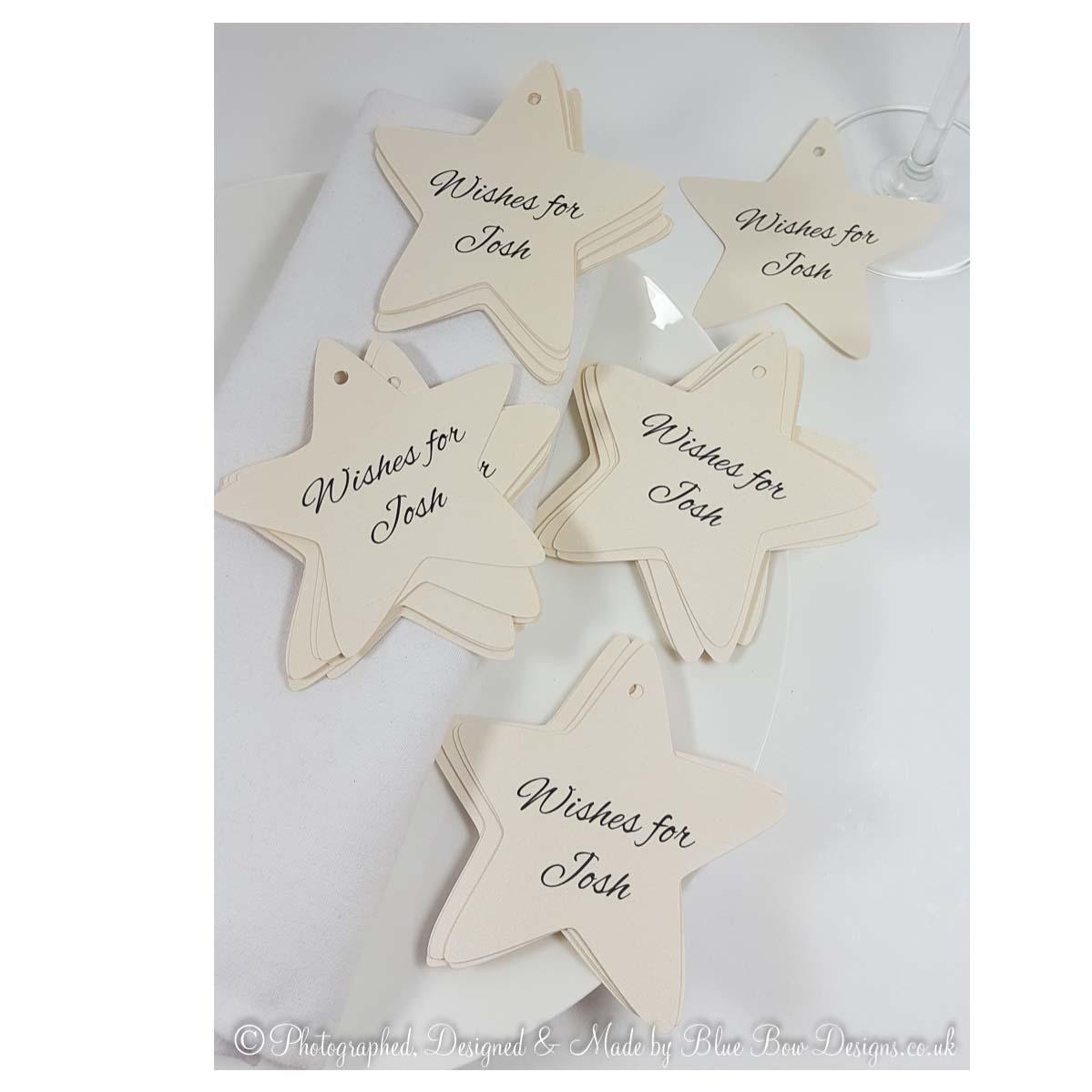 Personalised star shaped tags