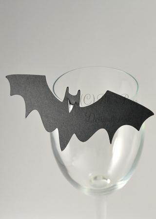 Black Bat place cards for wine glass