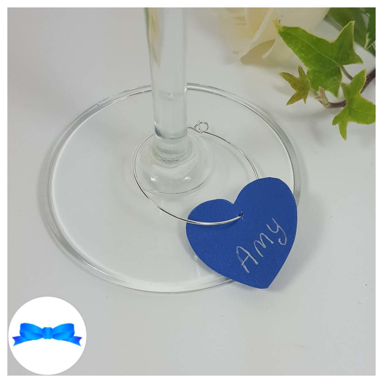 Royal blue heart shaped wine glass charm