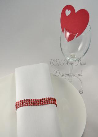 Red Heart shaped wine glass card with additional heart cut out