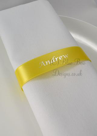 Jasmin Yellow and silver napkin guest name ribbon