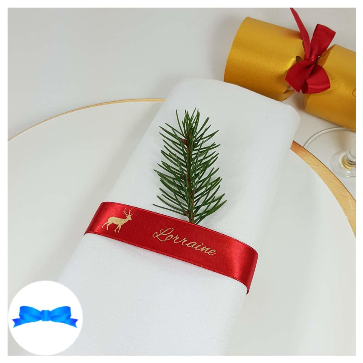 red and gold napkin guest name ribbon