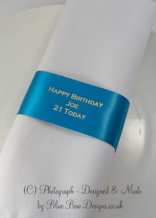 Aqua and Silver Birthday Napkin Ring ribbon