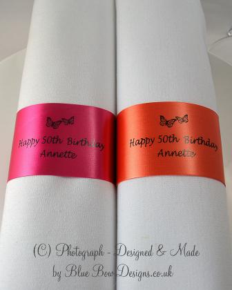 Fuchsia and orange birthday napkin ring