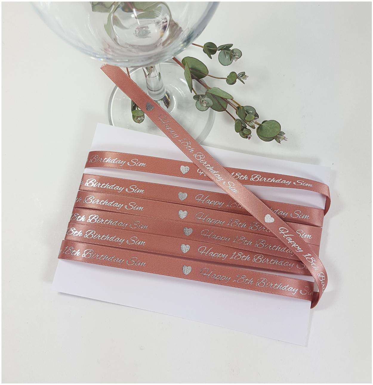 Rose gold and silver personalised ribbon