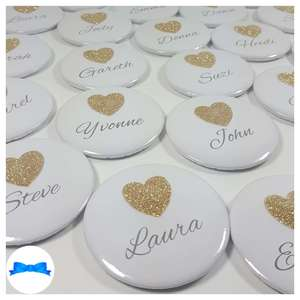 Gold glitter heart name badges