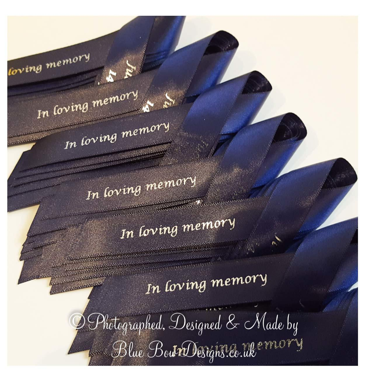 navy blue 15 mm memorial ribbon with silver print