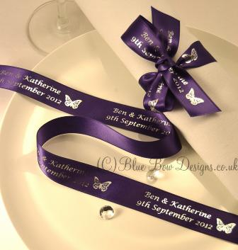 Purple 25 mm personalised ribbon