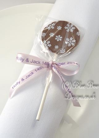 10 mm personalised ribbon on chocolate lollipop