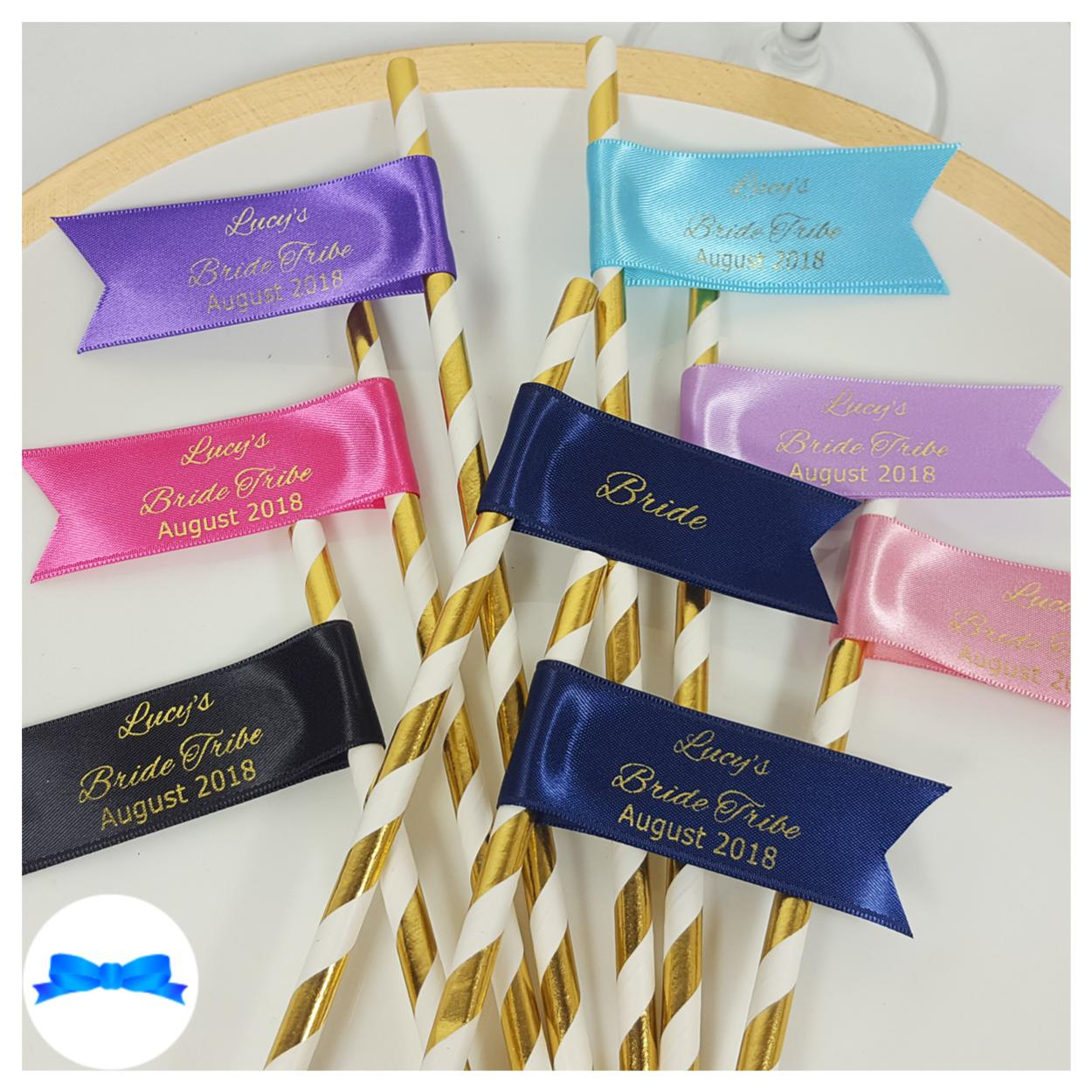 Hen party personalised straws plus free bride straw