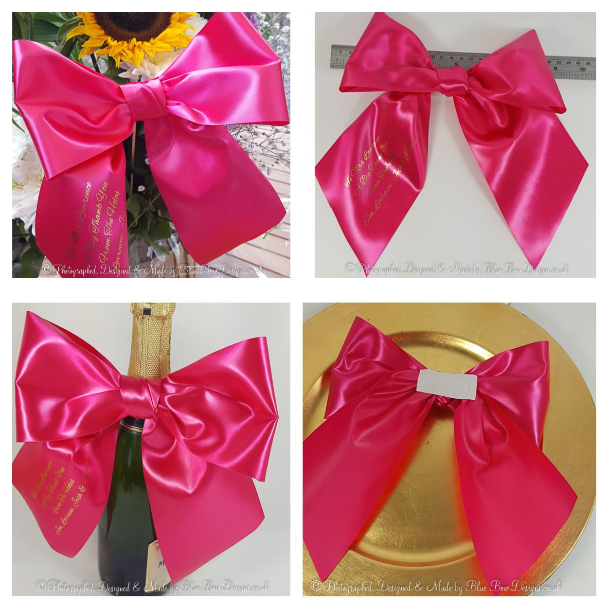 Large fuchsia pink and gold print personalised gift bow