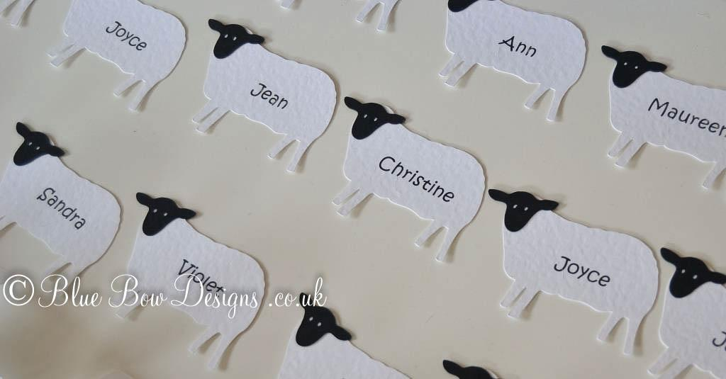 Sheep wine glass place cards
