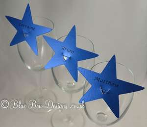 Royal Blue stars for wine glass place cards