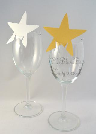 Silver and gold pointed stars for wine glasses