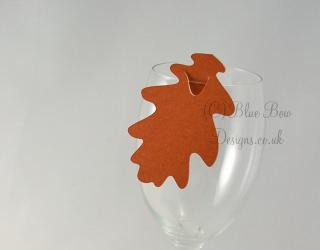 Burnt orange oak leaf wine glass place cards