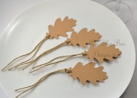 Kraft brown oak leaves with hessian string